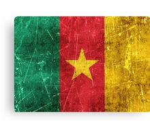 Vintage Aged and Scratched Cameroon Flag Canvas Print