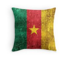 Vintage Aged and Scratched Cameroon Flag Throw Pillow