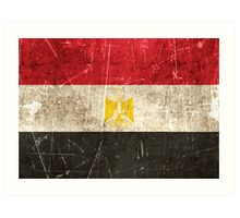 Vintage Aged and Scratched Egyptian Flag Art Print