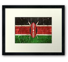 Vintage Aged and Scratched Kenyan Flag Framed Print