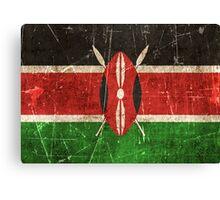 Vintage Aged and Scratched Kenyan Flag Canvas Print