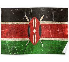 Vintage Aged and Scratched Kenyan Flag Poster