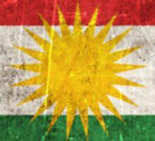 Vintage Aged and Scratched Kurdish Flag Sticker