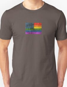 Vintage Aged and Scratched Gay Pride Rainbow American Flag T-Shirt