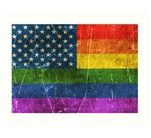 Vintage Aged and Scratched Gay Pride Rainbow American Flag Art Print