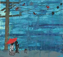 Red Umbrella- a couple and their skunk dog by sasparilla