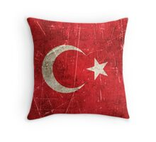 Vintage Aged and Scratched Turkish Flag Throw Pillow