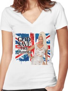 God Save The Queens Women's Fitted V-Neck T-Shirt
