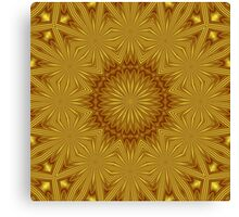 Golden Abstract Flowers Canvas Print