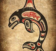 Red and Black Haida Spirit Killer Whale by Jeff Bartels