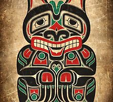 Red and Green Haida Spirit Bear by Jeff Bartels