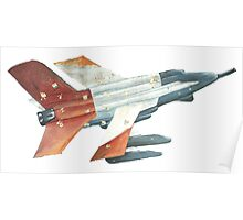 Red Tail Fighter Jet India Wall Mural Poster