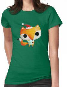 Cute Christmas Fox Womens Fitted T-Shirt