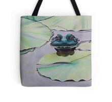Frog on lily pad Tote Bag