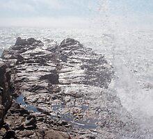 Sea Breaking on Tidepool Rocks, Cambria by Sean Champ