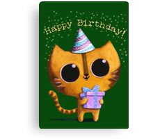 Cute Birthday Cat Canvas Print