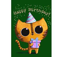 Cute Birthday Cat Photographic Print