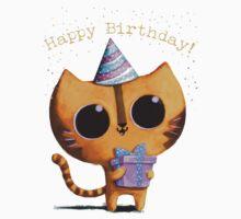 Cute Birthday Cat One Piece - Short Sleeve