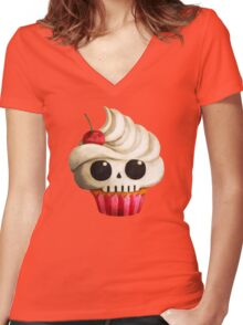 Delicious Skull Cupcake Women's Fitted V-Neck T-Shirt