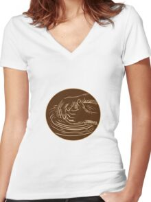 Hand Shaping Pottery Clay Etching Women's Fitted V-Neck T-Shirt