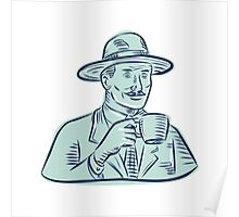 Man Fedora Hat Drinking Coffee Etching Poster