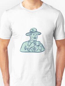 Man Fedora Hat Drinking Coffee Etching T-Shirt