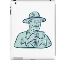 Man Fedora Hat Drinking Coffee Etching iPad Case/Skin