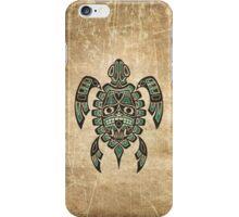 Teal Blue and Black Haida Spirit Sea Turtle iPhone Case/Skin