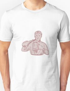 Man Pouring Beer Mug Etching T-Shirt