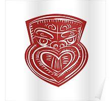 Maori Mask Etching Poster