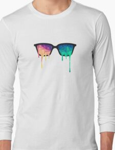 Abstract Polygon Multi Color Cubism Triangle Design Long Sleeve T-Shirt