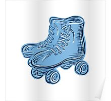 Roller Skates Vintage Etching Poster