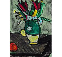 Green Vase Of Flowers(after Cezanne) Photographic Print