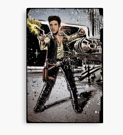 Elvis Han Solo Collage Art Home Decor, Elvis Presley, Star Wars, Harrison Ford, Millenium Falcon, Death Star Canvas Print
