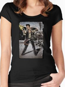Elvis Han Solo Collage Art Home Decor, Elvis Presley, Star Wars, Harrison Ford, Millenium Falcon, Death Star Women's Fitted Scoop T-Shirt
