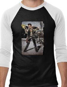 Elvis Han Solo Collage Art Home Decor, Elvis Presley, Star Wars, Harrison Ford, Millenium Falcon, Death Star Men's Baseball ¾ T-Shirt