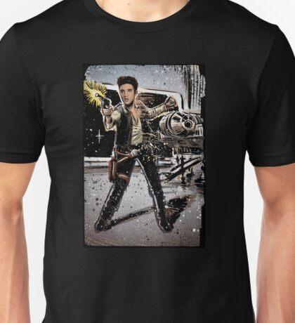 Elvis Han Solo Collage Art Home Decor, Elvis Presley, Star Wars, Harrison Ford, Millenium Falcon, Death Star Unisex T-Shirt