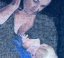 Breastfeeding mother and baby in blue by Peter Brandt