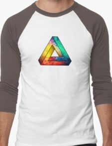Abstract Multi Color Cubizm Painting Men's Baseball ¾ T-Shirt