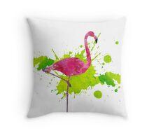 Paint Splatter Flamingo Throw Pillow