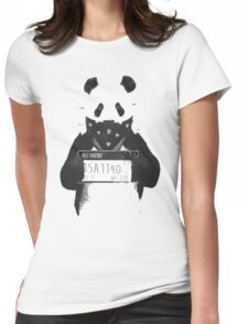 Bad Banksy Panda Womens Fitted T-Shirt