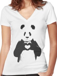 All You Need is Love Banksy Panda Women's Fitted V-Neck T-Shirt