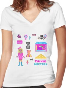Pixel Trixie Mattel Women's Fitted V-Neck T-Shirt