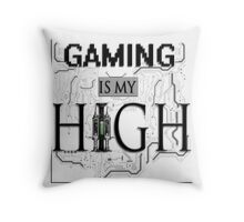 Gaming is my HIGH - Black text Transparent Throw Pillow