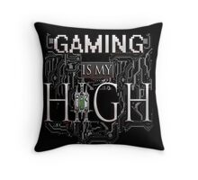 Gaming is my HIGH - White text Transparent Throw Pillow