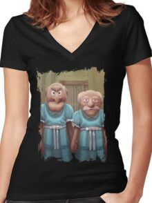 Muppet Maniac - Statler & Waldorf as the Grady Twins Women's Fitted V-Neck T-Shirt