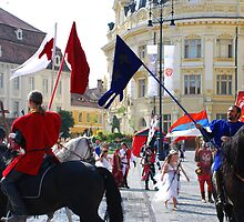 Medieval knights parade in Sibiu, Romania by Adrian Bud