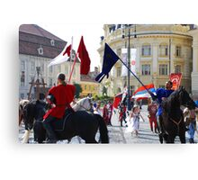 Medieval knights parade in Sibiu, Romania Canvas Print