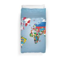 Traveler World Map Flags  Duvet Cover