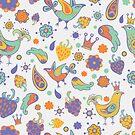 -  Seamless doodle birds pattern (white) - by Losenko  Mila
